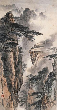 Landscape painting Asian Landscape, Chinese Landscape Painting, Japanese Landscape, Fantasy Landscape, Chinese Painting, Landscape Art, Landscape Paintings, Japanese Drawings, Japanese Artwork
