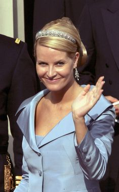 Crown Princess Mette-Marit of Norway leaves Copenhagen Cathedral after the wedding ceremony between Danish Crown Prince Frederik and Miss Mary Elizabeth Donaldson in Copenhagen Cathedral May 14, 2004 in Copenhagen, Denmark.