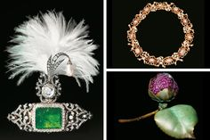 """Clockwise from left: diamonds surround the centerpiece emerald of this Indian turban ornament, made circa 1900; Alexandre Reza's """"Le Carcan""""..."""