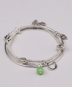 Take a look at this Sterling Silver & Green Stretch Bracelet by Accessories that Shine: Jewelry on #zulily today!