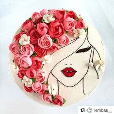 Image could contain: flower - cake decorating recipes kuchen kindergeburtstag cakes ideas Pretty Cakes, Cute Cakes, Beautiful Cakes, Amazing Cakes, Beautiful Birthday Cakes, Buttercream Flowers, Buttercream Cake, Bolo Floral, Fancy Cakes