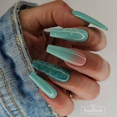 Best Acrylic Nails, Acrylic Nail Designs, Cute Nails, Pretty Nails, Uv Lack, Nail Candy, Green Nails, Gorgeous Nails, Nails Magazine