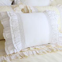 This pillow sham has multiple layers of lace/ruffles on both sides to create a romantic feeling.  Beautiful eyelet lace and white crochet cotton lace.  Luxury multiple ruffles on the left and right sides.  Extravagant design  Size: queen or king  Color is white.  Easy Envelope-Back Closure.  300 thread count cotton  If you choose the 1 queen sham option for $36.75, you will receive a queen size sham. If you choose the 2 queen shams option for $68.75, you will receive two queen size shams.