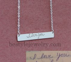 Signature Or Handwriting Bar Necklace Engraved by Bestyle on Etsy
