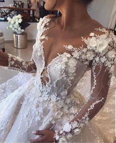 """If the words """"gorgeous long sleeve wedding dress"""" set your heart racing, you're in for a treat. Find your perfect long-sleeve wedding dress! Stunning Wedding Dresses, Dream Wedding Dresses, Bridal Dresses, Wedding Gowns, Wedding Tips, Wedding Ceremony, Wedding Tables, Wedding Outfits, Budget Wedding"""