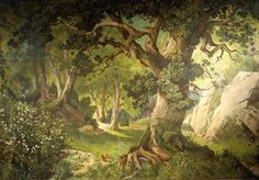 The Garden Of The Magician Klingsor, From The Parzival Cycle, Great Music Room Painting by Christian Jank Enchanted Wood, School Murals, Framed Artwork, Wall Art, Forest Background, Over The Garden Wall, Mural Painting, Paintings, Fantasy Inspiration