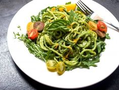 Zucchini Pasta with Creamy Avocado-Cucumber Sauce *This site has many vegetable noodle dishes!