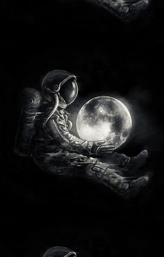'Moon Play' Poster by nicebleed Space Artwork, Wallpaper Space, Galaxy Wallpaper, Wallpaper Backgrounds, Dark Phone Wallpapers, Foto Fantasy, Fantasy Art, Astronaut Wallpaper, Art Noir