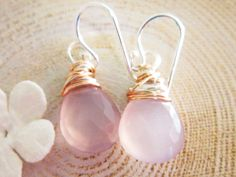 Lavender Earrings Purple Chalcedony Wire by thelittlehappygoose, $32.00
