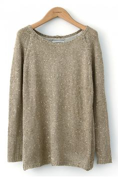 Light Gold Sparkle Sweater! Love this Color! O-neck Pailette Decorated Long Sleeves Holiday Sweater