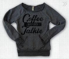 Coffee sponsered Eco off the shoulder sweatshirt