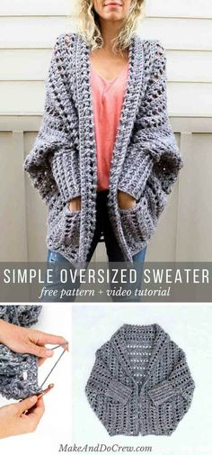Learn how to crochet the free Dwell Sweater pattern in this video tutorial. This chunky crochet cardigan is a fantastic beginner sweater pattern because there is zero shaping! via Crochet Cardigan Video Tutorial: Beginner Friendly Crochet Dwell Sweater Cardigan Au Crochet, Gilet Crochet, Sweater Knitting Patterns, Crochet Shawl, Knit Crochet, Crochet Sweaters, Crochet Granny, Free Knitting, Crochet Shrugs