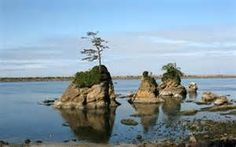 Large rock islands in the ccean