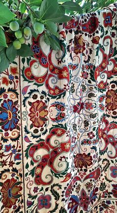 Central Asia, Fabric Strips, Silk Fabric, American Houses, Contemporary Embroidery, Table Covers, Bed Spreads, Traditional Art, Grape Vines