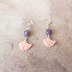 Boucles d'Oreilles Oiseau Perles, Bijoux Fantaisie Simple, Idée Cadeau Ado : Boucles d'oreille par bleuluciole