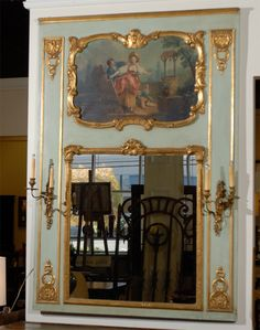 1stdibs.com | 19th Century French Trumeau Mirror With Sconces