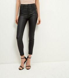 Jean skinny enduit noir à taille haute | New Look