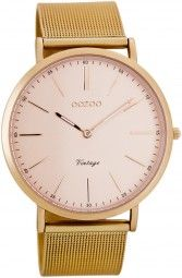 Oozoo Ultra Slim Vintage Uhr C7391 - rose - 40 mm - Meshband