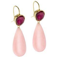 Crownwork Ruby and Pink Opal Earrings