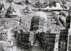 Artist Benjamin Sack, with the help of his 0.05 Staedtler pigment liner pen, crafts dizzying fictional cityscapes that throb and pulse with the energy of an actual universe, or even a living organism.