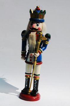 Vintage Blue Wood Nutcracker Toy, Kurt S. Adler