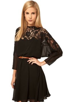 Black Plain Hollow-out Half Sleeve Chiffon Dress