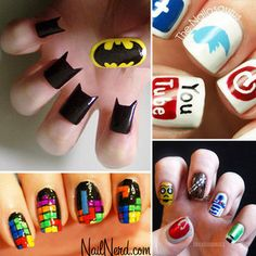 Batman, Social Media, Tetris, and Star Wars finger nails