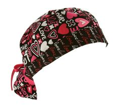 """Red and pink hearts and flowers with 'LOVE' on black with coordinating black underline """"love"""" fabric that is flipped up for a cute look! #Nurses #Fundraiser #Etsy #Scrubs"""