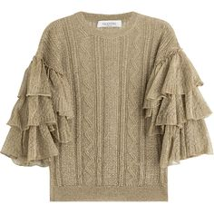 Valentino Knit Pullover ($1,125) ❤ liked on Polyvore featuring tops, sweaters, shirts, valentino, gold, knit pullover, polish shirts, pullover sweater, pullover shirt and frilly shirt