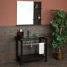 "40"" Espresso Barrio Console Vanity  with Mirror"