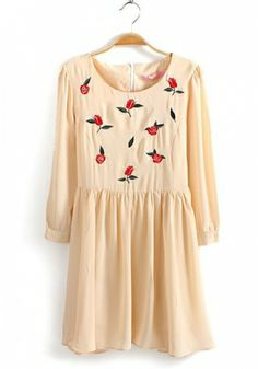 Fashoin Enchating Dizzying Beige Chiffon round neck Long Sleeve Print Fashion Dresses