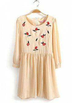 Fashoin Enchating Dizzying Beige Chiffon round neck Long Sleeve Print Fashion Dresses