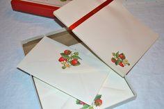 Vintage Hallmark Stationery Set - Strawberry Scented Paper and Envelopes