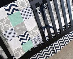 Custom Crib Bedding - Mint, Navy, And Grey Baby Bedding