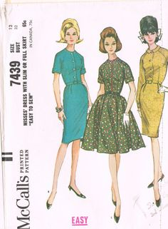 McCall's 7439 - Vintage 1960s Sewing Pattern - Misses' Dress With Slim Or Full Skirt