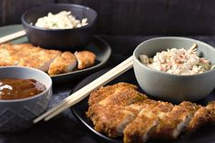This dish is super easy to make, delicious and satisfying. Tonkatsu is a Japanese dish which consists of a pork cutlet coated in Panko (Japanese bread crumbs) fried, then topped with Tonkatsu sauce. This homemade sauce is tangy and delicious. Tonkatsu is often served with shredded cabbage but we like it much better with broccoli slaw or coleslaw. You can also use chicken instead of pork using this same recipe.
