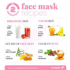 Two Ingredients Face Mask Recipes  tag friends #fitonomy #facemask #diy#remedies
