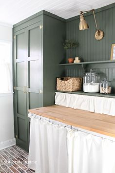 Laundry Room Update in Classic Dark Green – Laundry Room Laundry Room Cabinets, Basement Laundry, Laundry Room Storage, Laundry Room Design, Laundry Rooms, Laundry Closet, Laundry Tips, Laundry Drying, Laundry Room Colors