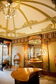 Georges Fouquet's jewelry store, designed by Alphonse Mucha, ca. 1900, reconstructed  at Musée Carnavalet, Paris