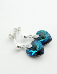 Blue Drop Earrings Swarovski Heart Earrings Small Earrings