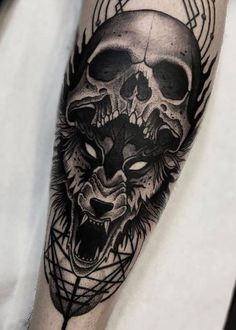 Wolf tattoos are the most popular body art Ideas for men because of their untamed nature and strong associations with loyalty, family, and protection. Read on to discover all the different types of wolf skull tattoos and the perfect piece for you. Best Wolf Tattoos, Badass Tattoos, Body Art Tattoos, Cool Tattoos, Tatoos, Wing Tattoos, Tribal Tattoos, Wolf Tattoo Design, Skull Tattoo Design