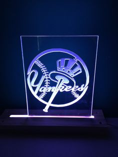 Acrylic Led Edge Lite Stand Plexi Glass New York Logo by FunWithDolls on Etsy