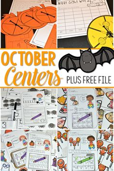Here is your kindergarten fall free tile. Students will rhyme the number word to the pictures. Lots of fun math and literacy center ideas for October. Meaningful task cards help students work independently.
