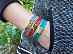 Leather Bracelet Charm, Raw Brass Choose Color & Prints of Nature- SALE - see Listing for Coupon Codes...