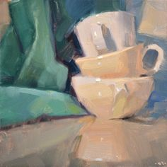 Carol Marine's Painting a Day: Abandoned Stack - love the warm, soft light!