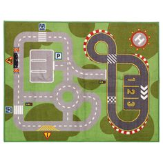 LILLABO Play mat - IKEA  They have one of these mats at PLAY Kitsap in Bremerton. It has held up very well to all the kids and I like that the roads are simple unlike the various other road map rugs on the market.