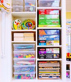 This playroom was organized just in time to make room for the new arrivals on Christmas morning. We purged as many boxes as we could and added indestructible shoe boxes to hold all the games and toys. 🎨 Products linked at the top of our favorites page and @liketoknow.it http://liketk.it/2pXBk ✨ #thehomeedit #playroom #toys #organization