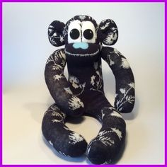 Sock monkey navy and white by sunnyteddy Designs  £12.00