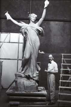 Daniel Chester French working on The Spirit of Life (also known as The Trask Memorial) for Saratoga Springs, NY, in his Studio at Chesterwood