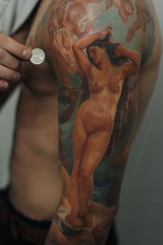 birth of venus painting tattoo realism nyc artist portrait color cherub